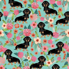 doxie dog dachshund dachshunds fabric cute flowers mint girls sweet baby clothing fabric organic fabric for babies fabric by petfriendly on Spoonflower - custom fabric
