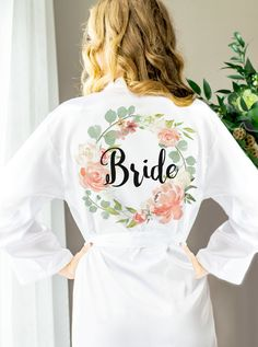 How to Be a Happy Bride! Get ready for your wedding in this is a really cute bride robe! Personalization on the back available. | Personalized Floral Bridal Party Robes by www.ZCreateDesign.com or Shop ZCreateDesign on Etsy