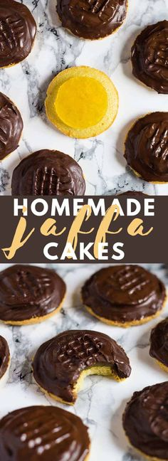 Homemade Jaffa Cakes - A British classic. Biscuit sized cakes topped with an orange jelly and sealed with dark chocolate! Homemade Desserts, Delicious Desserts, British Biscuit Recipes, British Biscuits, British Recipes, Cupcake Recipes, Baking Recipes, Cookie Recipes, Sweets