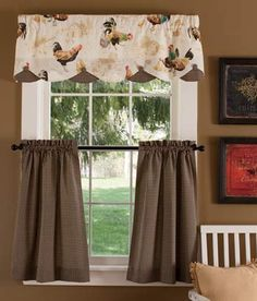 Colebrook Tier Curtains, these cockerels must go in my kitchen! I imagine myself in my fluffy robe and slippers sipping coffee and eating KK donuts under these!