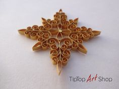 Homemade Christmas Ornament Paper Quilled Snowflake in