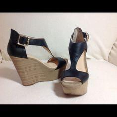 "Jessica Simpson Black Platform Wedges 5"" heel. 2"" platform. Gold side buckle. Jessica Simpson Shoes Wedges"