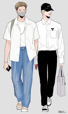 fanart by ? Fashion Design Drawings, Fashion Sketches, Fanfic Namjin, Cover Wattpad, Handsome Anime Guys, Bts Drawings, Bts Korea, Bts Chibi, Bts Fans
