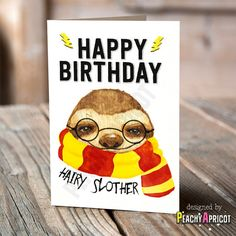 Hairy Slother Birthday Card