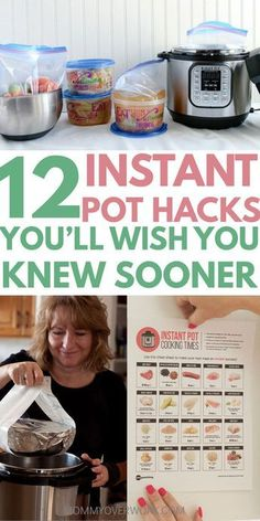12 instant pot tips you'll wish you knew sooner title box atop freezer cooking in round containers next to instant pot
