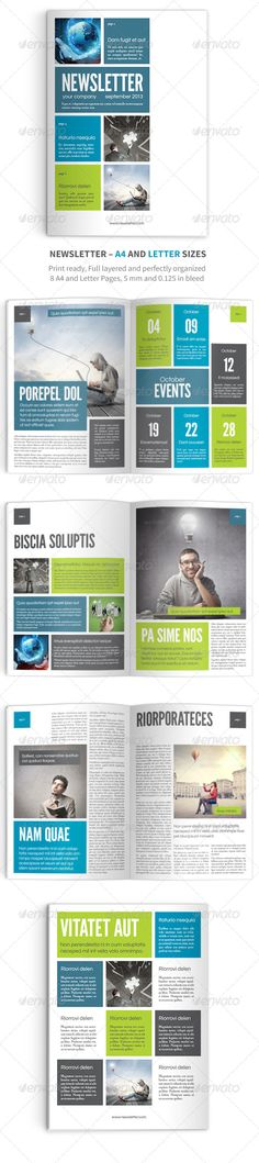 Newsletter vol. 9 – Indesign Template #GraphicRiver Newsletter vol.9 Indesign A4 Template Made in Adobe InDesign CS6 8 pages (A4) Master pages with auto pagination INDD (CS6) and IDML (CS4 and later) files included 5mm bleed Print ready Easy to edit Separated Layers (text, master pages, photos…) This template is great for business newsletter, but you can use every page as a flyer! Used fonts: Fanwood Questrial League