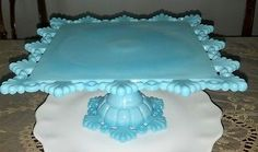 Westmoreland Blue Milk Glass Ring Petal Footed Cake Stand Cake Plate Stunning | eBay