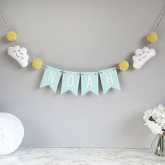 Personalised cloud name bunting baby nursery decor baby room decoration personalised bunting new baby gift baby shower decor pom pom Baby Nursery Decor, Baby Decor, Baby Shower Decorations, Nursery Bunting, Nursery Grey, Nursery Ideas, Nursery Pom Poms, Baby Shower Bunting, Christening Decorations