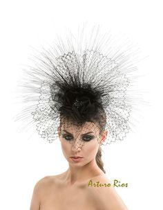 Black Couture Fascinator, Black fascinator , cocktail hat,  derby hat, Russian veil hat, melbourne cup fascinators, womens hats