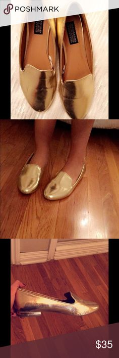 Metallic gold flats Lovely gold metallic flats. Worn only twice Urban Outfitters Shoes