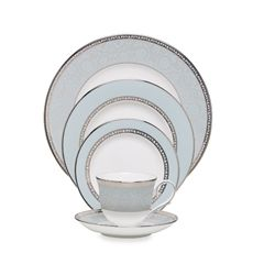 """Lenox offers a timeless combination of polished platinum and intricate blooms in the Westmore 9"""" dinnerware collection. A serene palette of pure white and pale blue adds to its distinctive elegance. Bone china is dishwasher safe. Made in the USA of imported materials."""