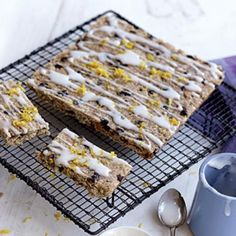 Lemon and sultana slice - Healthy Food Guide Healthy Sweet Snacks, Healthy Treats, Healthy Recipes, Healthy Food, Dairy Free Baking, Mixed Fruit, Baking Tins, Sweet Recipes, Sweet Tooth