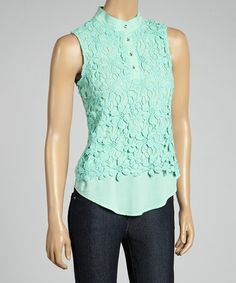 Another great find on #zulily! Mint Floral Crochet Sleeveless Button-Up Top by Passarella #zulilyfinds