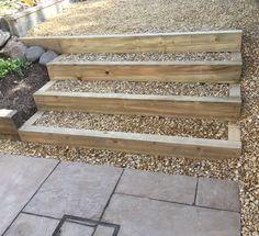 Sleeper steps with gravel infills Garden Furniture, Outdoor Furniture, Outdoor Decor, Sleeper Steps, Bespoke Design, Garden Design, Landscape, Plants, Lawn Furniture