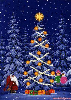 Eva Melhuish, Santa & Children with Christmas Tree Christmas Clipart, Vintage Christmas Cards, Xmas Cards, Christmas Greetings, Vintage Cards, Holiday Cards, Christmas Gnome, Christmas Past, Winter Christmas