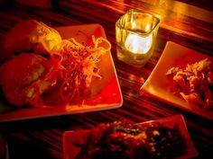 Kimchi bacon buns and squid jerky at Tanuki