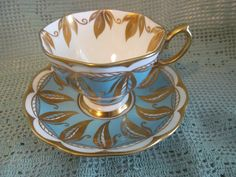 Gorgeous Peacock Blue w Gold Leaves Royal Albert England