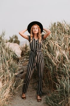 The Delta Striped Jumpsuit in Black - Beach White Long Sleeve Jumpsuit, Backless Jumpsuit, Red Jumpsuit, Jumpsuit Outfit, Striped Jumpsuit, New Outfits, Stylish Outfits, Piper And Scoot, Jumper Outfit