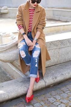 red & camel // denim & stripes