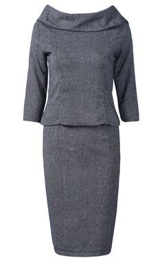 Black Big Lapel Back Zipper Top With Skirt - Sheinside.com ----work wear !