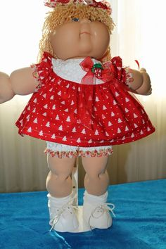 "Cabbage Patch Doll Cloths -Seasonal dress, panties, hair bows -fits 16"" #HandmadeDollCloths #ClothingAccessories"