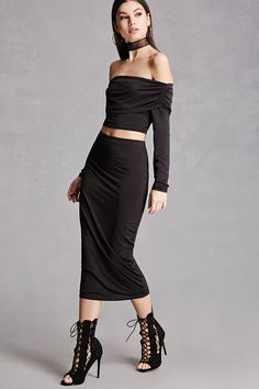 Midi Stretch-Knit Skirt | Forever 21 - 2000064671 - Dress it up with heels or down with sandals.