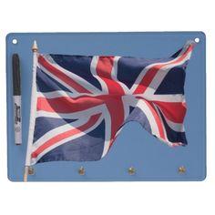 Union Jack waving flag Dry Erase Board