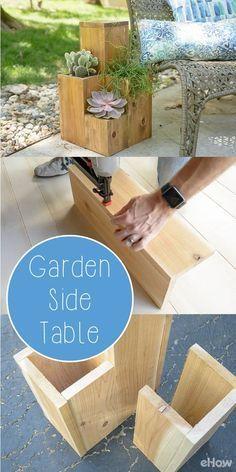 Double-Duty Design: How to Build a Side Table Atop a Small Garden - Diy Garden Decor İdeas Outdoor Projects, Garden Projects, Diy Projects, Carpentry Projects, Garden Ideas, Scrap Wood Projects, Project Ideas, Garden Side Table, Patio Table
