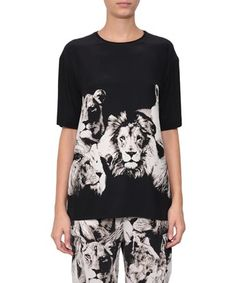 ROBERTO CAVALLI Silk T-Shirt Lions Print. #robertocavalli #cloth #print