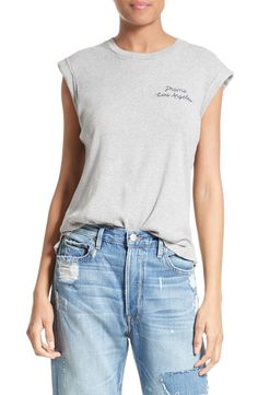 New FRAME Embroidered Muscle Tee HEATHER PEONY fashion online. [$95] new offer from Thenewoffer<<