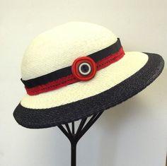 Refurbished Hat Vintage Straw Sun Hat Navy by SophiesHatsandMore, $37.50