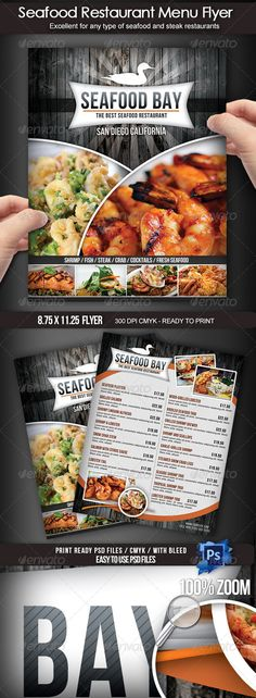 Seafood Restaurant Menu Flyer - Restaurant Flyers