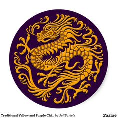 Traditional Yellow and Purple Chinese Dragon Circl Classic Round Sticker