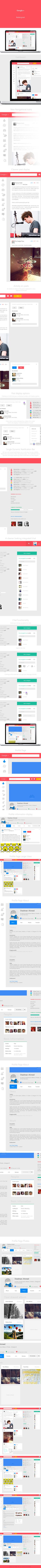 "Google+ Redesigned Concept *** ""A concept work (in progress) for Google +. The objective is to make it more cleaner, with lesser distraction and follow the flat UI trend in design."" by Shadman Ahmed, via Behance *** #google+ #concept #gui"