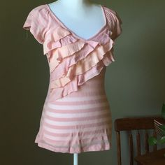 """Pretty in Pink  Pretty in Pink Ruffle Stripped Blouse. Shirt was worn but in excellent condition. Will need an under shirt blouse is see thru. No tears or stains . V- Neck. 15"""" bust. . 27"""" length Tops Blouses"""