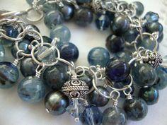FREE SHIPPING Sterling Silver Blue Stone Bracelet on Etsy, $115.00