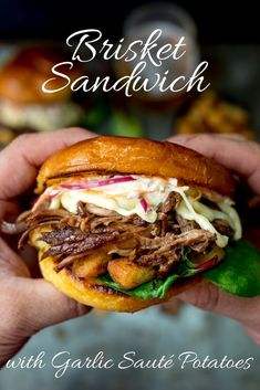 This Brisket Sandwich with garlic sauté potatoes and homemade coleslaw is proper man-food - perfect for Father's day! day food Brisket Sandwich with Garlic Sauté Potatoes and Coleslaw Burger Recipes, Beef Recipes, Cooking Recipes, Healthy Recipes, Delicious Recipes, Game Recipes, Hot Sandwich Recipes, Healthy Food, Homemade Sandwich