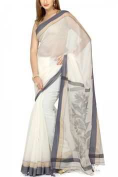 Floral White & Black Zari Dhakai Cotton Silk Jamdani Saree