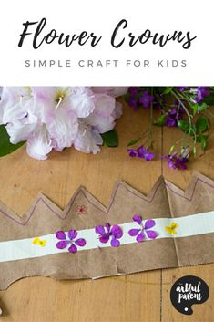 Flower Crowns for Kids from Paper Bags and Duct Tape is part of Kids Crafts Flowers Simple - How to make simple flower crowns for kids with paper bags, duct tape, and fresh flowers A fun craft that doubles as a pretend play accessory! Crafts For Kids To Make, Crafts To Sell, Fun Crafts, Art For Kids, Arts And Crafts, Paper Crafts, Simple Flower Crown, Simple Flowers, Fresh Flowers