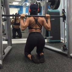 quad killlllaaaa.  just recently tried these, I love them. 25 lb plates on each side to start. pulsing! 3 sets of 15 youll be on  (the vid is sped up, do them slow annnd use a mat under your knees prob) -- took my @ehplabs #beyondbcaas with me, definitely need them during every leg day to prevent soreness. use code katya10 for a discount! Taggg yooooo workout partner