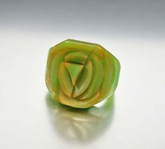 Art Deco Carved Bakelite Ring Spinach Green Flower by boylerpf