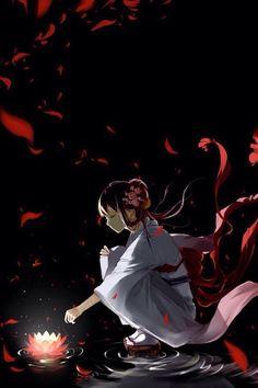 纯白玫瑰香紧身袍袍袖上衣,下照白纱散花裙,腰间用红丝软烟罗系成一个大大的蝴蝶结,鬓发低垂斜系粉红樱花,,掀起一阵血色花瓣,黑夜中的她啊,勾人魂魄。