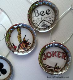 Diy Drink Charms | You're going to need:      Mod Podge Dimensional Magic     Regular Mod Podge     Bottle caps with a loop     Playing cards or paper     1 inch paper punch     small paint brush     Loop holders (found in the jewelry making area)