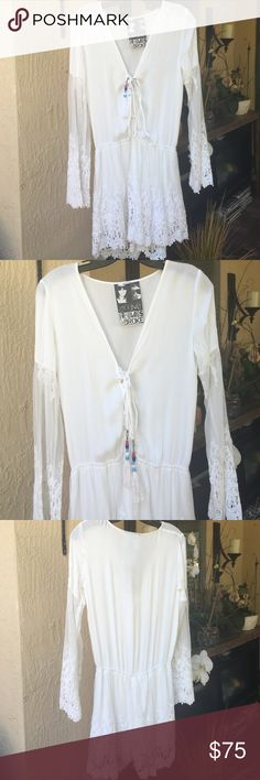 Young fabulous & Broke romper Brand new worn twice lace romper. I guess my butt isn't big enough for this. Lol. New condition Young Fabulous & Broke Other
