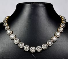 Beautiful Moissanite Studded Necklace & Earring Set Made In .925 Sterling Silver