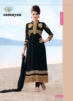 Evelyn Black Coloured Georgette  Embroidered Dress Material