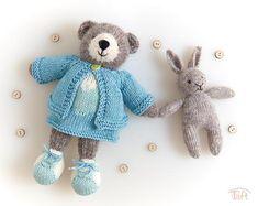 Amigurumi teddy bear toy Lea, knitted stuffed plush bear animal with clothes Little Cotton Rabbits, Teddy Bear Toys, Cashmere Yarn, Crochet Teddy, Bear Doll, Plush Animals, Wool Yarn, Dinosaur Stuffed Animal, Bunny