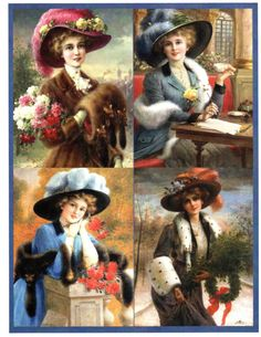 Victorian Ladies in Furs Digital Collage Sheet by floozieville, $1.25