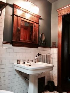 *Love the colors, tile, & wood tones! Craftsman Style Decor, Craftsman Style Bathrooms, Craftsman Interior, Craftsman Bungalows, Sloped Ceiling Bathroom, Mission Style Homes, Bungalow Renovation, Bungalow Homes, Bathroom Styling