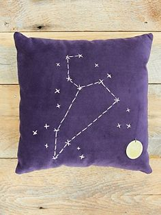 Constellation Pillow - DIY idea, this would be cute to have either your kids zodiac sign on it or as a gift to someone who's into astrology